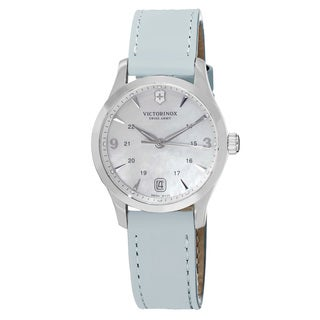 Swiss Army Women's V241661 'Alliance' Mother of Pearl Dial Light Blue Leather Strap Swiss Quartz Watch