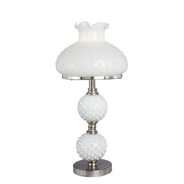 Brushed Steel Metal Accent Lamp 22.25-inch Accent Lamp with White Hobnail Balls and Shade