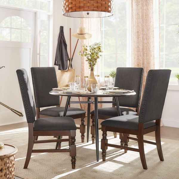 Flatiron Nailhead Upholstered Dining Chairs Set Of 2 By INSPIRE Q Classic