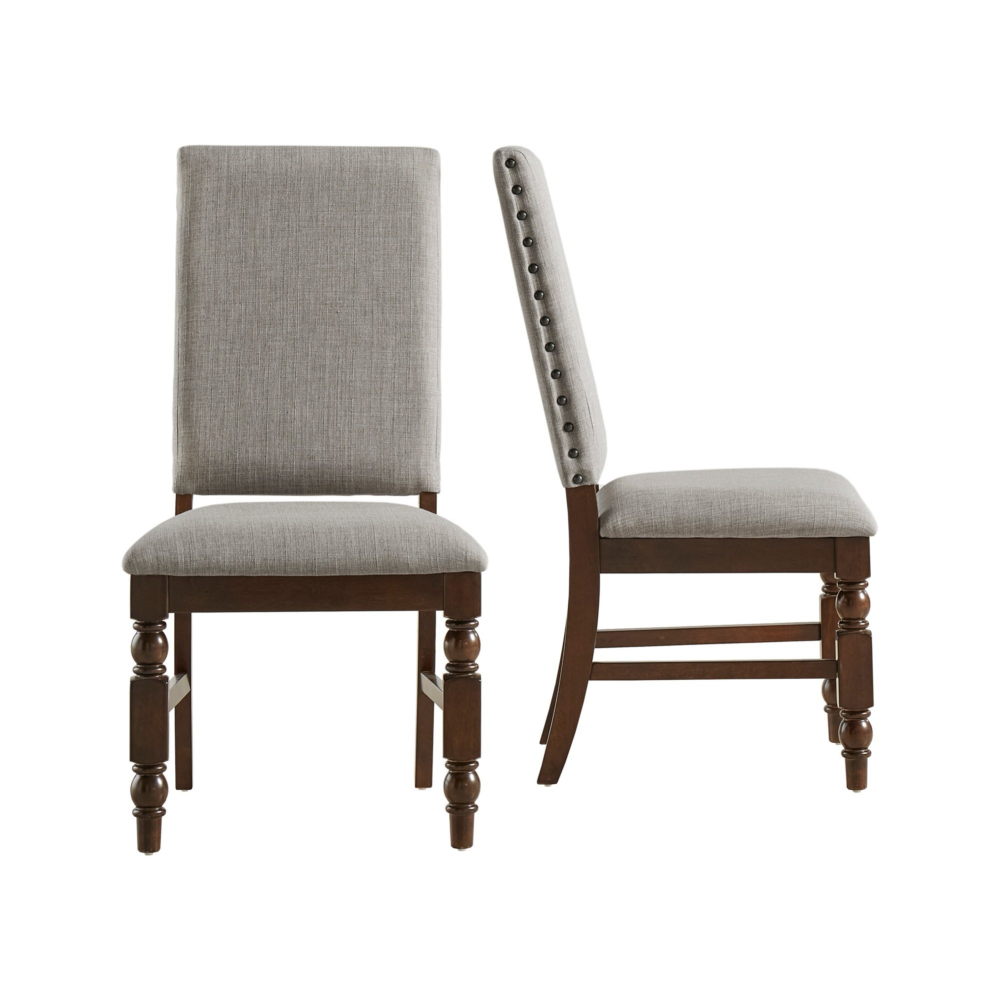 upolstered dining chairs. Flatiron-Nailhead-Upholstered-Dining-Chairs-Set-of-2- Upolstered Dining Chairs