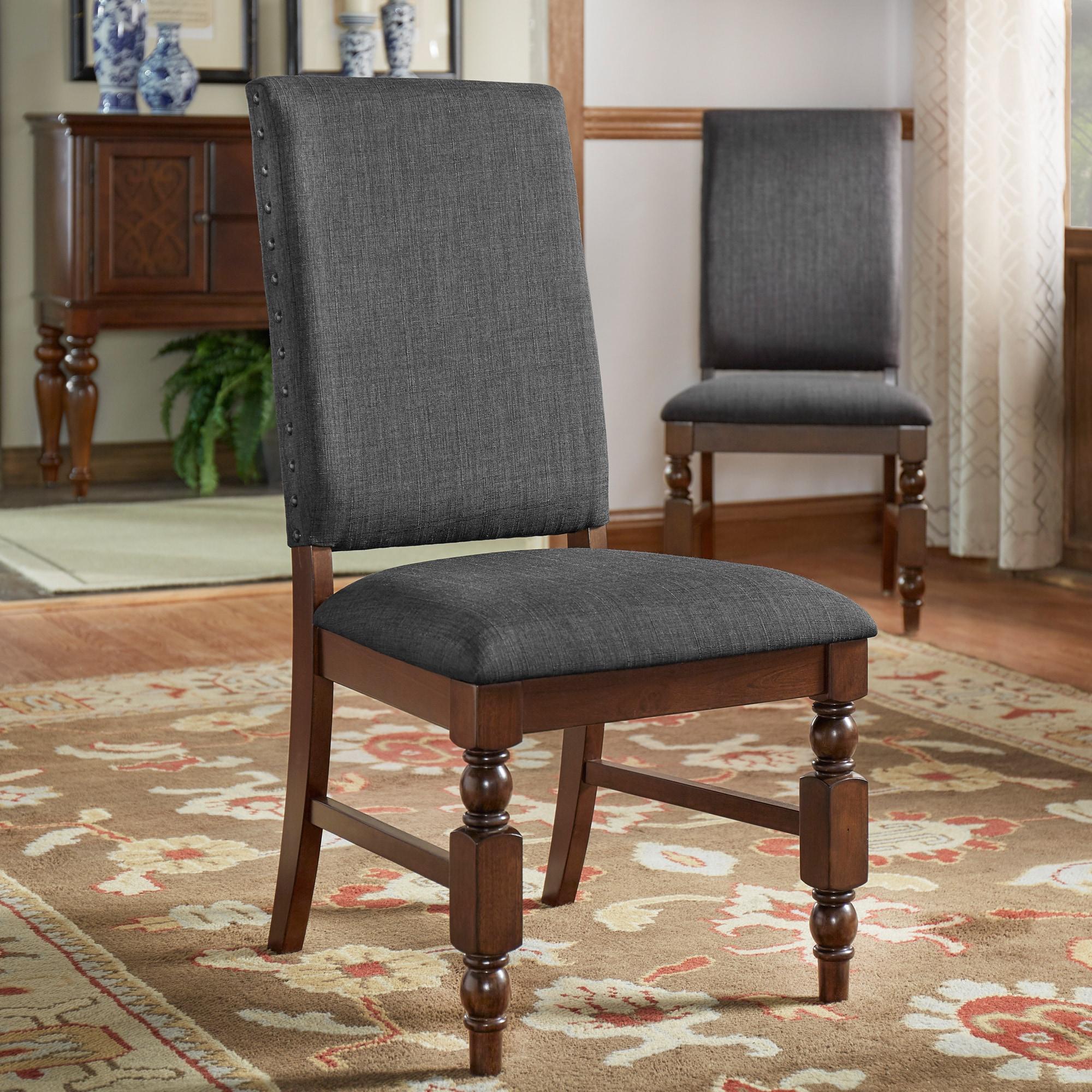 Flatiron Nailhead Upholstered Dining Chairs Set of 2 Flatiron Nailhead Upholstered Dining Chairs Set