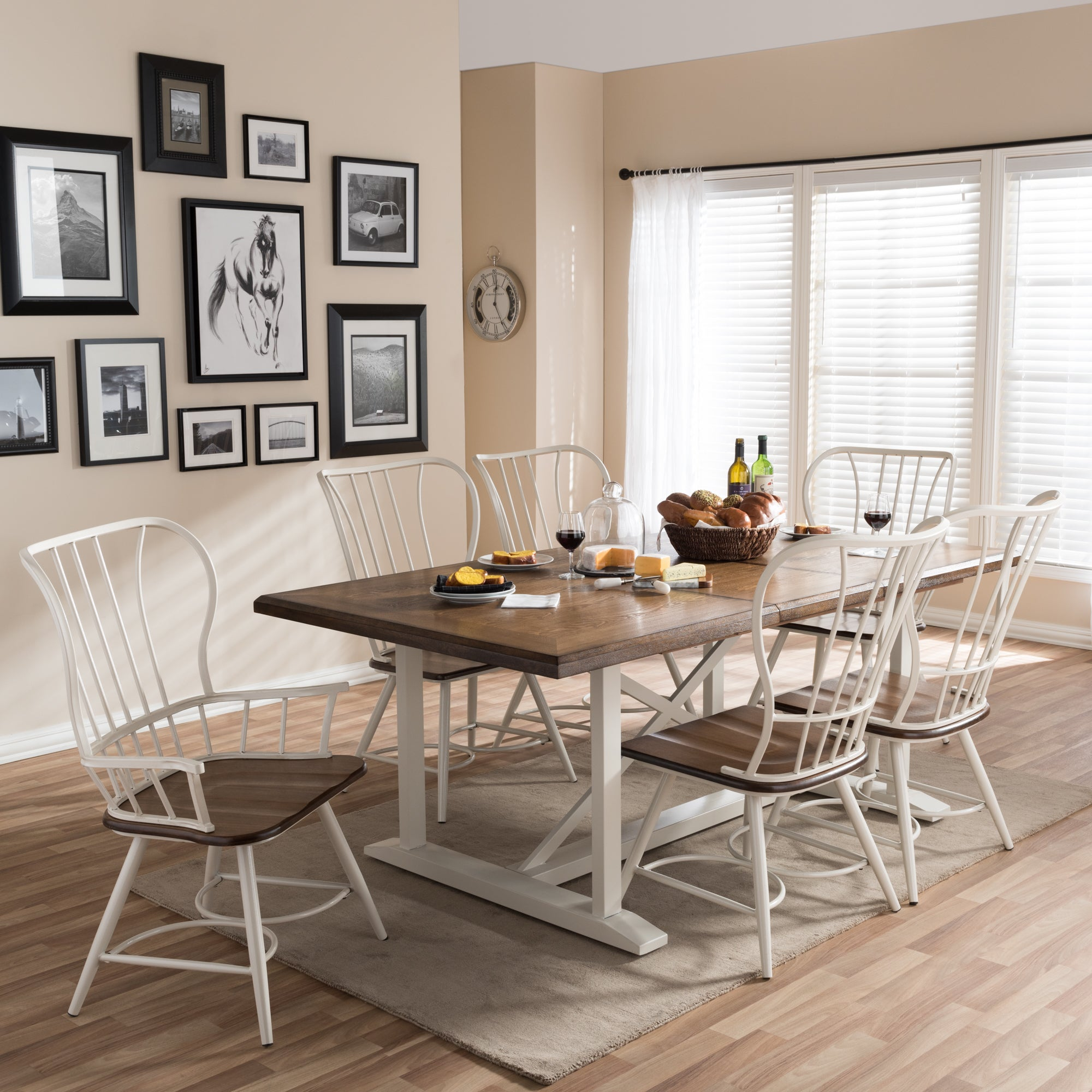 Longford Wood And Metal Vintage Industrial 7 Piece Dining Set White