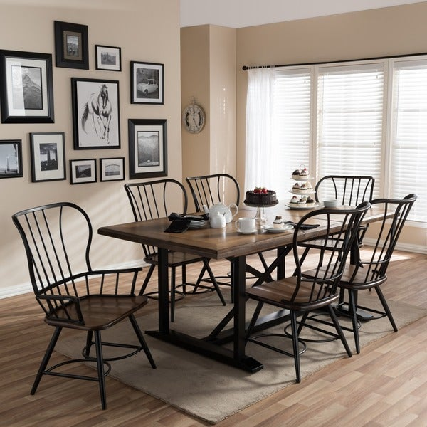 Perfect Copper Grove Halle Wood And Metal Vintage Industrial 7 Piece Dining Set  Black