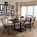 Longford Wood and Metal Vintage Industrial 7-Piece Dining Set-Black