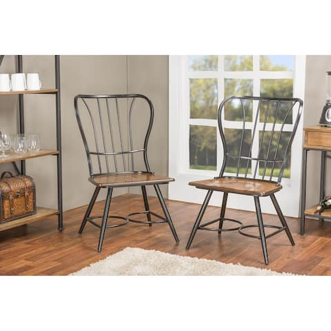 Carbon Loft Rudolph Industrial Metal and Wood Dining Chairs (Set of 2)
