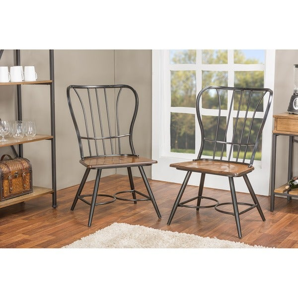 set of 2 longford wood and metal vintage industrial dining chairblack