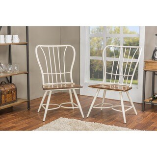 Set of 2 Longford Wood and Metal Vintage Industrial Dining Chair-White