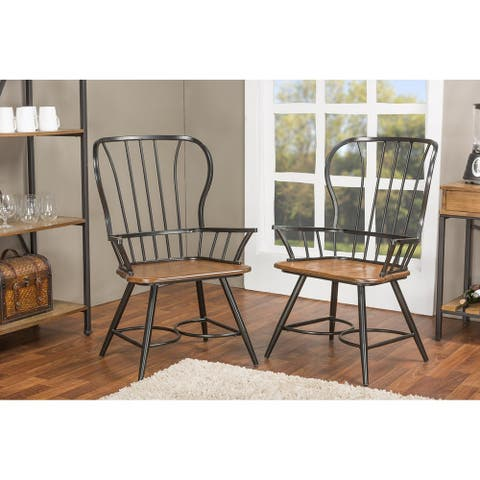 Carbon Loft Rudolph Set of 2 Wood and Metal Vintage Industrial Dining Arm Chair