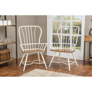 Set of 2 Longford Wood and Metal Vintage Industrial Dining Arm Chair-White