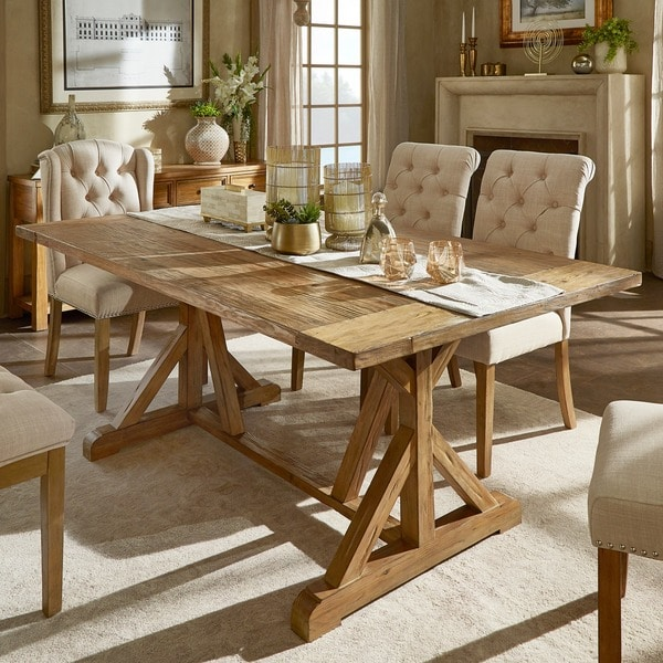 Attractive Benchwright Rustic Pine Accent Trestle Reinforced Dining Table By INSPIRE Q  Artisan