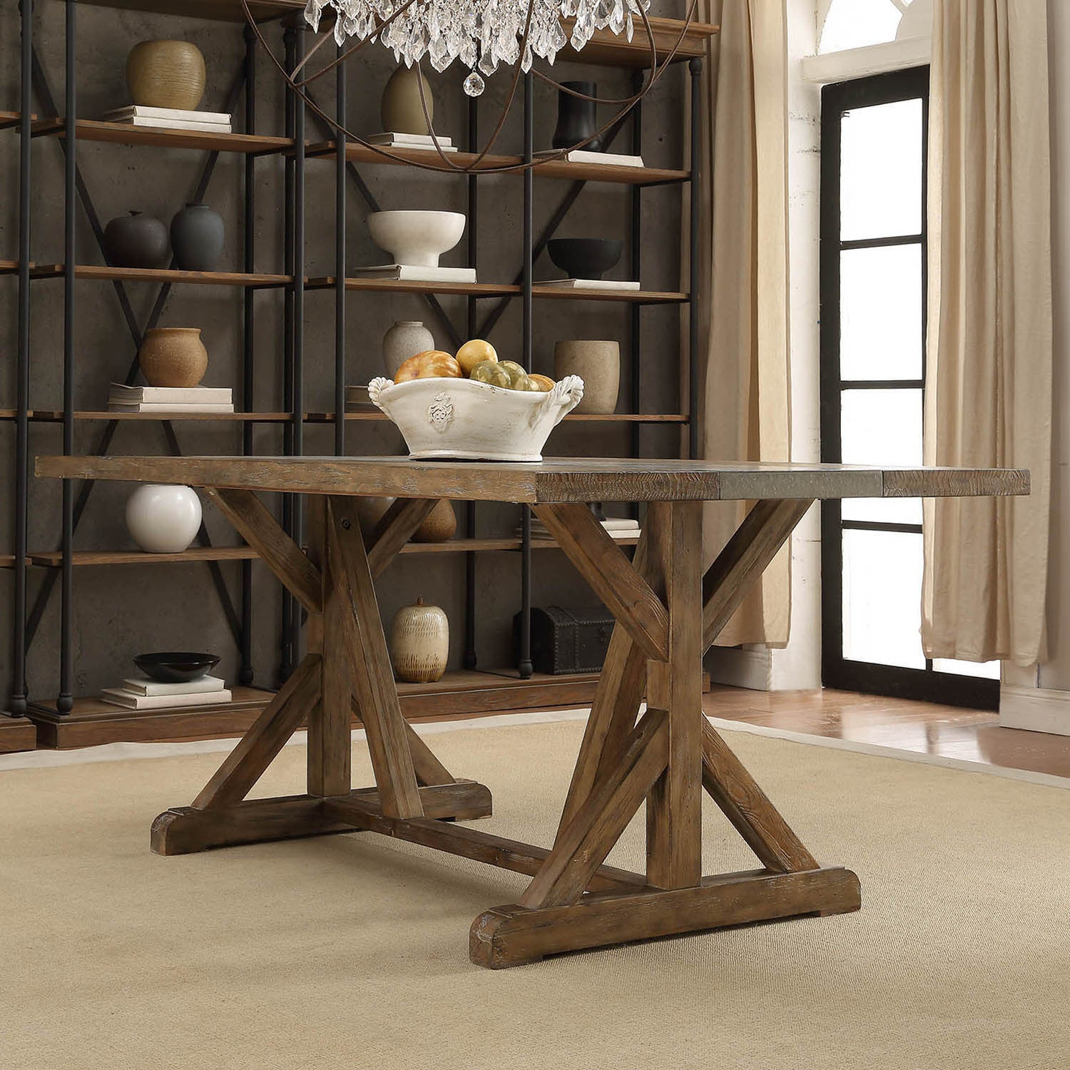Benchwright-Rustic-Pine-Concrete-Accent-Trestle-Reinforced-Dining-
