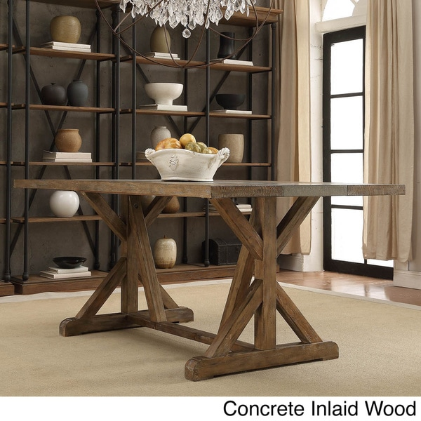 Benchwright Rustic Pine Concrete Accent Trestle Reinforced Dining Table By  INSPIRE Q Artisan