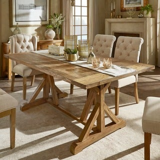 Benchwright Rustic Pine Concrete Accent Trestle Reinforced Dining Table by SIGNAL HILLS