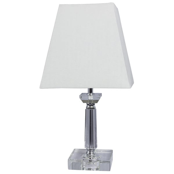 Crystal and Metal 15-inch Lamp with Chrome Accents