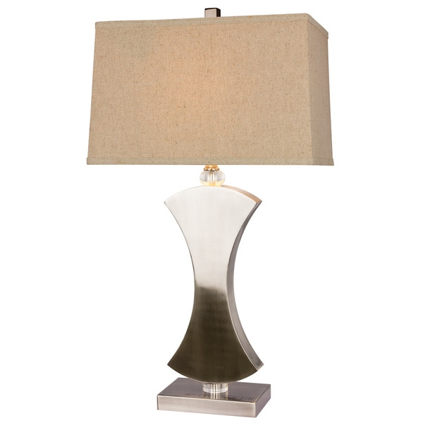 Metal and Crystal Brushed Steel Finish 31-inch Table Lamp