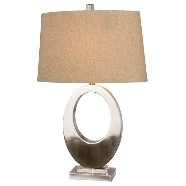 Metal Oval Brushed Steel 30-inch Table Lamp