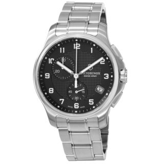 Swiss Army Men's V241592 Officers' Black Dial Stainless Bracelet Chronograph Watch