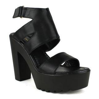 Mark and Maddux Women's Beck-13 Chunky Platform Slingback High Heel Sandals