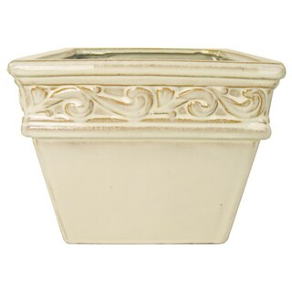 Creative Displays Cream Square Shaped Ceramic Vase