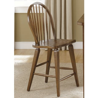 Traditional Rustic Oak Windsor Back Counter Barstool