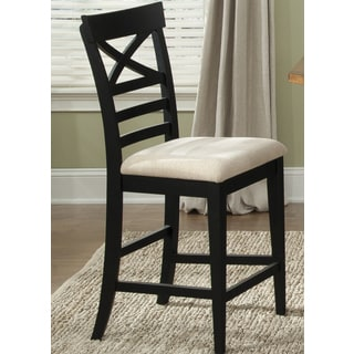 Traditional Rustic Black X-back Upholstered Counter Barstool