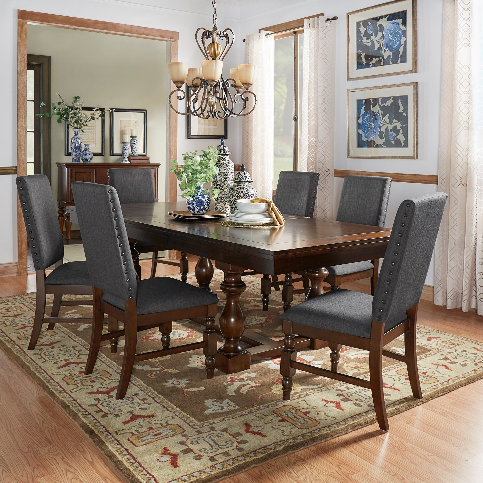 black dining room sets. Flatiron Baluster Extending Dining Set By INSPIRE Q Classic (4 Options Available) Black Room Sets T