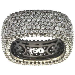 Suzy L Blackened Sterling Silver Cubic Zirconia Square Micro Pave Eternity Ring