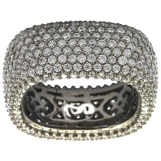 Suzy Levian Blackened Sterling Silver Cubic Zirconia Square Micro Pave Eternity Ring https://ak1.ostkcdn.com/images/products/10045746/P17190635.jpg?_ostk_perf_=percv&impolicy=medium