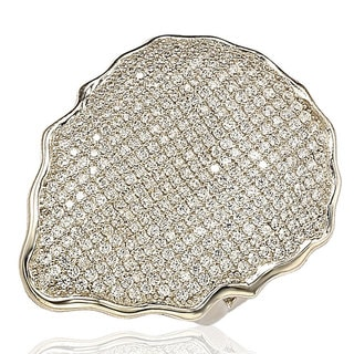 Suzy Levian Sterling Silver Cubic Zirconia Pave-encrusted Plate Ring