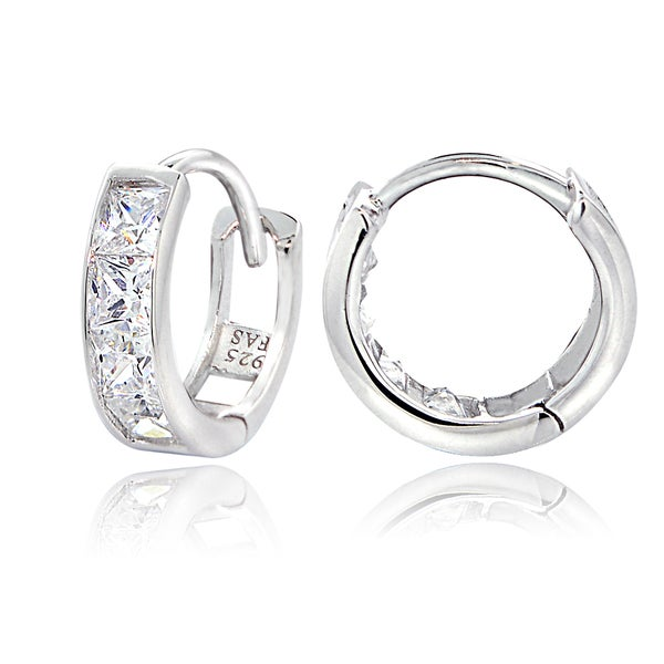 ICZ Stonez Sterling Silver Cubic Zirconia Channel-set Mini Hoop Earrings