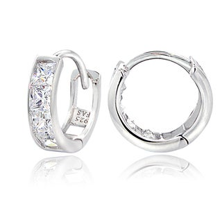 ICZ Stonez Sterling Silver Cubic Zirconia Channel-set Mini Hoop Earrings