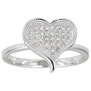 Decadence Sterling Silver Heart Shape Micropave Ring with Cubic Zirconia