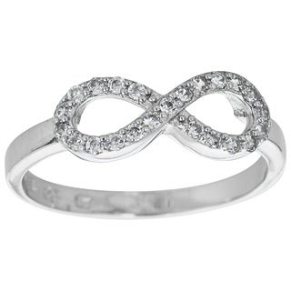 Decadence Sterling Silver Micropave Infinity Ring with Cubic Zirconia