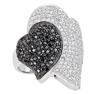 Decadence Sterling Silver Micropave Black and White Double Heart Cocktail Ringwith Cubic Zirconia
