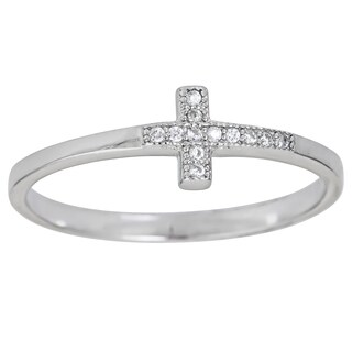 Decadence Sterling Silver Micropave Sideway Cross Ring with Cubic Zirconia