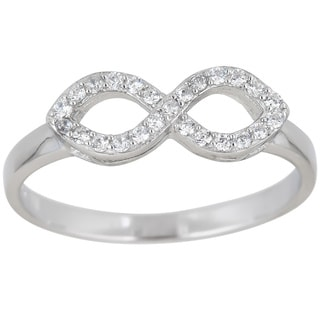 Decadence Sterling Silver Infinity Micropave Ring with Cubic Zirconia