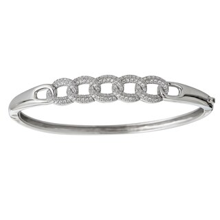Decadence Sterling Silver Micropave Link Bangle with Cubic Zirconia