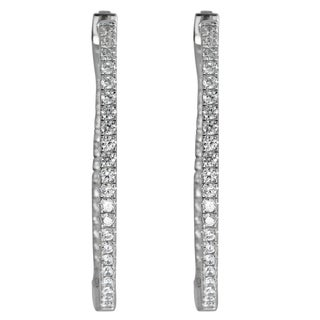 Decadence Sterling Silver Micropave Single-strand Oval Hoop Earrings with Cubic Zirconia