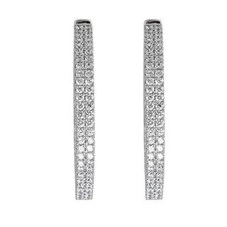 Decadence Sterling Silver Micropave 2-strand Hoop Earrings with Cubic Zirconia