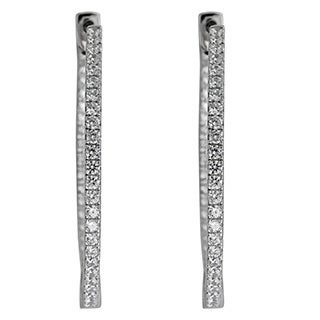 Decadence Sterling Silver Micropave Single-strand Hoop Earrings with Cubic Zirconia