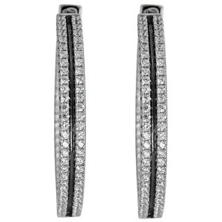 Decadence Sterling Silver Micropave Hoop Earrings with Oxidized Rhodium and Cubic Zirconia