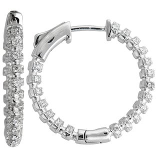 Decadence Sterling Silver Micropave 2-strand Fancy Hoop Earrings with Cubic Zirconia