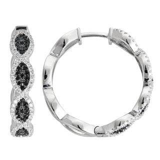 Decadence Sterling Silver Micropave Black and White Twist Hoop Earrings with Cubic Zirconia