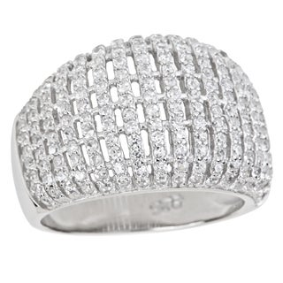 Decadence Sterling Silver Micropave Fancy Basketweave Cocktail Ring with Cubic Zirconia