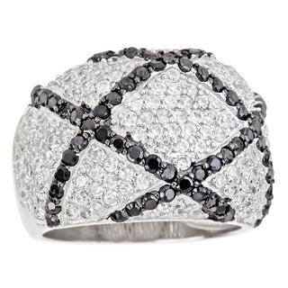 Decadence Sterling Silver Micropave Black and White Criss Cross Cocktail Ring with Cubic Zirconia
