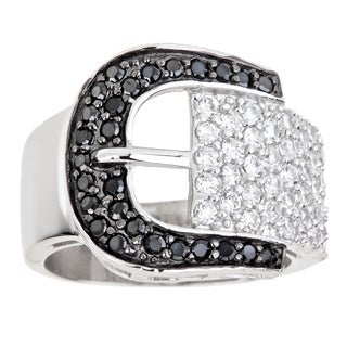 Decadence Sterling Silver Micropave Black and White Buckle Ring with Cubic Zirconia
