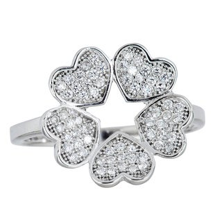 Decadence Sterling Silver Micropave 5 Heart Ring with Cubic Zirconia