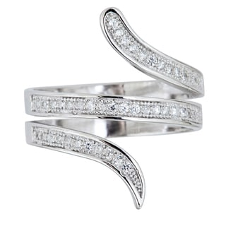 Decadence Sterling Silver Micropave 3-strand Ring with Cubic Zirconia
