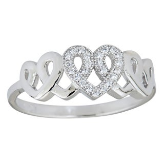 Decadence Sterling Silver Micropave 5 Interlocking Heart Ring