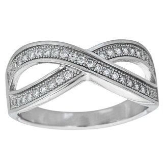 Decadence Sterling Silver Micropave Crossover Ring with Cubic Zirconia
